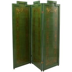 Folding Deco Green Lacquered Screen with Metal Inlay | 1stdibs.com