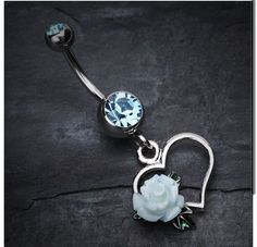 Blue heart belly button ring