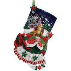 @Overstock.com - Princess 18-inch Christmas Stocking Complete Felt Applique Kit - Create beautifully unique Christmas stockings with this felt applique kit. It has a colorful princess theme and comes with stamped felt appliques, beads, and sequins that you can use to make an 18-inch stocking thats ready to hang.  http://www.overstock.com/Crafts-Sewing/Princess-18-inch-Christmas-Stocking-Complete-Felt-Applique-Kit/6191705/product.html?CID=214117 $20.03