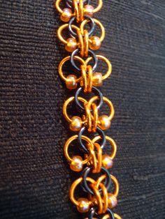 Roosa Weave - OSU - Orange & Black with Orange Beads - Bracelet