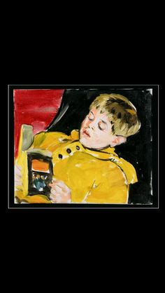 "Sandra Fisher - ""Max reading"", early 1990's - Oil on canvas - 10 x 12 in. (*)"