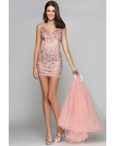 V Neck Straps Beaded Bodice Short Pink Prom Dress With Detachable Skirt