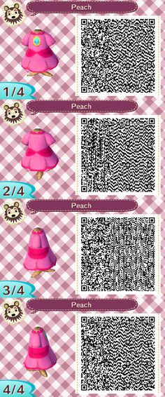 Animal Crossing: NL QR Codes [Princess Peach Outfit]