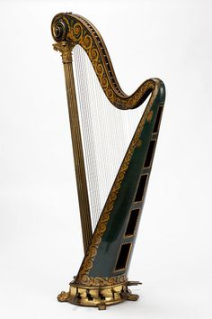 Pedal harp        Place of origin:        London, England (made)      Date:        1813-1831 (made)      Artist/Maker:        Dizi, François Joseph (maker)      Materials and Techniques:        Carved, gilded and painted birchwood and pine