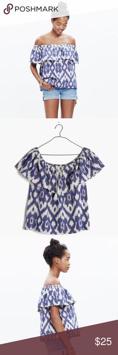 Madewell Balcony Off Shoulder Top Ikat Sz Medium PRODUCT DETAILS A seriously pretty top with an easy elasticized neckline (bare a single shoulder or both, your choice). With artful ikat print, this shirt gives a feminine twist to our favorite denim.   Worn & washed once. True to size. Cotton. Machine wash. Item F1330. Madewell Tops Tees - Short Sleeve