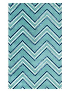 Beyond 50% OFF Shine by S.H.O. Zig Zag Rug (Turquoise)