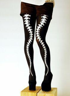 Current Skeleton White Bone Tattoo Socks Pantyhose Stocking Tights JF