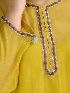 Mustard Dori Embroidered Chanderi Kurta