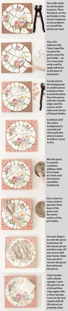 Next craft project coming up.A step-by-step visual guide to mosaic. Mosaic Crafts, Mosaic Projects, Mosaic Art, Mosaic Glass, Mosaic Tiles, Mosaics, Stained Glass, Mosaic Mirrors, Mosaic Designs