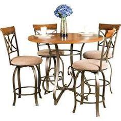 Powell Hamilton Gathering Set: Gathering Table And 4 Swivel Counter Stools