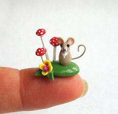 Miniature Wee Mouse with Toadstool Mushrooms - OOAK by C. Rohal via Etsy