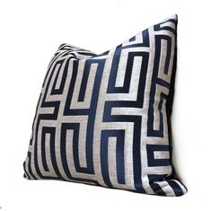 Designer Greek Key Geometric Navy Blue Taupe Beige Velvet Pillow Cover // Pillow Cover Made for Use with Inserts Beige Pillows, Velvet Pillows, Designer Pillow, Pillow Design, Living Room Decor Pillows, Room Ideas, Decor Ideas, Feather Pillows, Greek Key