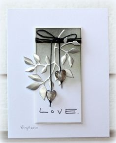 IC410 Love by Biggan - Cards and Paper Crafts at Splitcoaststampers, black white silver CAS
