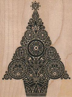 Art Deco Christmas tree stamp.