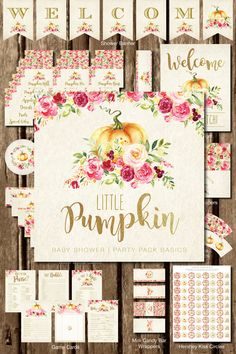 fall party food Decorate your little pumpkin's baby shower in style with this beautiful fall-themed Party Pack Basics Bundle! This theme is designed in oranges and pinks, and includes f Baby Shower Niño, Baby Girl Shower Themes, Shower Kits, Baby Shower Parties, Baby Shower Decorations, Baby Shower Gifts, Decoration Party, Shower Ideas, Baby Shower Fall Theme