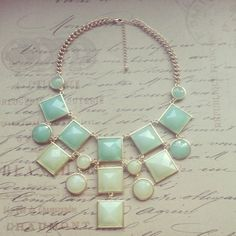 Seafoam Green, Green, Mint, Kate Spade Inspired, Statement Necklace, Bubble Bib, Bib Necklace, Mothers day Gift, Bridal Jewelry. $18.00, via Etsy.
