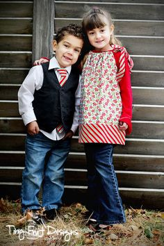 Matching brother and sister Christmas outfits!