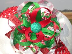 over the top christmas hair bows | Over the Top Glitter Christmas Hair Bow ONE by SewAdorableBowtique