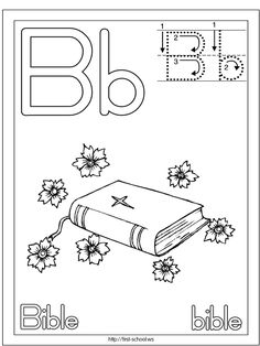 Bible Coloring Page | Bible Printable Activities | Alphabet Letter B | Standard Block Font