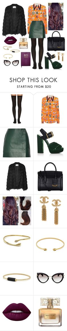 """""""Fall fashion with designer labels"""" by megan-maddalena ❤ liked on Polyvore featuring Wolford, Gucci, Thierry Mugler, Prada, Alexander McQueen, Cartier, David Yurman, Miu Miu, Lime Crime and Givenchy"""