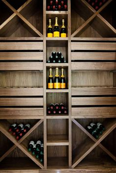 31 Modern Wine Cellar Design Ideas To Impress Your Guests- 31 Modern Wine Cellar Design Ideas To Impress Your Guests small but unique wine cellar - Wine Rack Wall, Wine Wall, Wine Shelves, Wine Storage, Storage Ideas, Shelving, Storage Racks, Cellar Inspiration, Home Wine Cellars