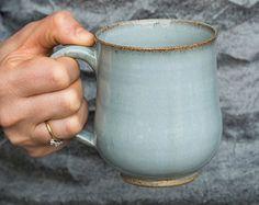Light Blue Pottery Mugs, Stoneware Coffee Mugs, Ceramic Handmade Mug, 10oz Mug, Pottery Gift Idea, New Home Gift, Gift for Grandma
