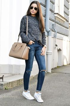 a marled sweater and skinny jeans to transition from winter into spring...