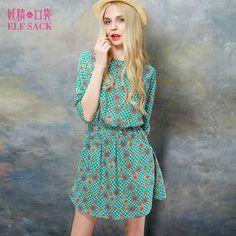 Elf Sack Womens' Summer Dress Vintage Floral Print | elfsack