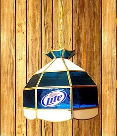 Table Lights And Lamps 75189: Miller Lite Beer Stained Glass Light Brass  15X14 Hanging Game