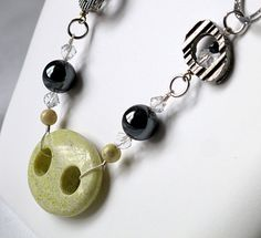 Now on Etsy ! Artisan Jewelry | Stones and metal ring necklace by Mademoizelle Fleur