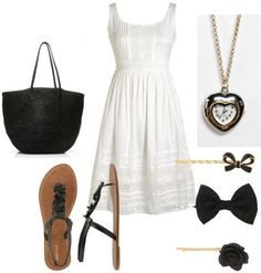 White outfit: How to wear a white dress with sandals and blackaccessories