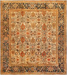 A Persian Sultanabad carpet - by Doris Leslie Blau. A late century antique Persian Sultanabad rug, the oatmeal field with an allover lattice of light blue, salmon . Persian Carpet, Persian Rug, Hallway Carpet Runners, Types Of Rugs, Carpet Trends, Custom Rugs, Cool Rugs, Rugs In Living Room, Vintage Rugs