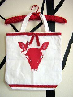 Truly Darling Deer Tote in Red by TruleeDarling on Etsy, $20.00