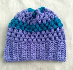 Purple Blue Crochet Puff Stitch Beanie Adult by SonitasYarnStash