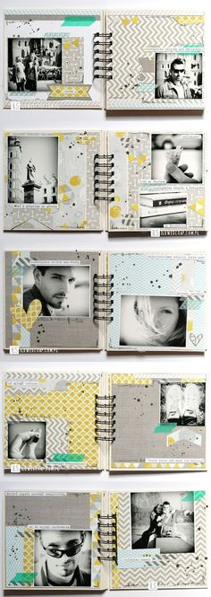 Jolie collection de papier Photo Album Scrapbooking, Scrapbook Cards, Mini Scrapbook Albums, Scrapbook Page Layouts, Diy Photo Album, Photo Book, Album Book, Mini Albums, Grey Yellow