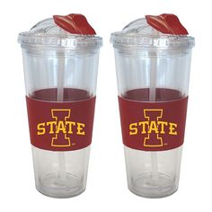 Iowa State Cyclones 2-pk. No-Spill Tumblers With Straws, Multicolor