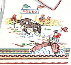 Hand Embroidery PATTERN 688 Rodeo Horse Bull Cowboy for Pillow & Scarf 1930s