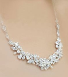 Statement Bridal rhinestone, freshwater pearl and crystal necklace