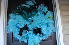 Mardi Gras Wreath, Spiral Wreath, Deco Mesh, Blue Wreath, Wreath, Deco Mesh Wreath, Mardi Gras, Electric Blue, Baby Blue. $75.00, via Etsy.