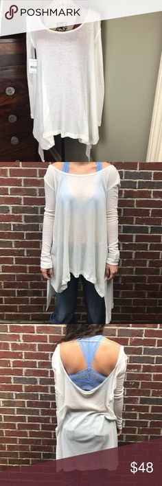 💖 NWT FREE PEOPLE Ivory Uneven Hem Flowy Top XS Long Sleeve. Waffle weave fabric. Super soft. Open back. Perfect to wear with bralette. Bralette is in a separate listing. Bundle together for a special discount.  VN5 Free People Tops