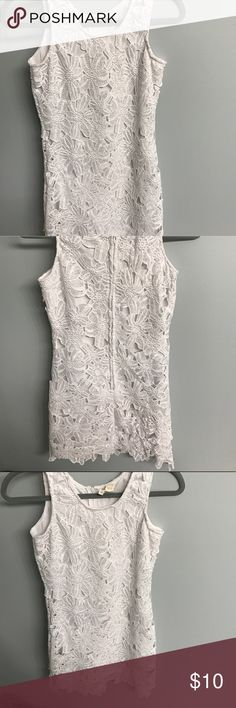 Floral Lace Dress White floral lace dress with the floral detailing going a little below the dress length. Not see through. Japana Dresses Mini