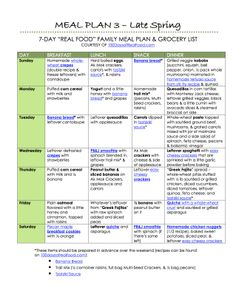 100 Days of Real Food: Meal Plan 3 Meal Prep Plans, Real Food Recipes