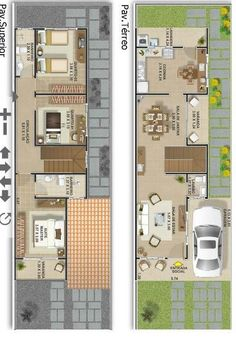 Apartment floor plan narrow Ideas for 2019 Narrow House Plans, Small Floor Plans, House Plans One Story, Cluster House, Cool Apartments, Exterior House Colors, Facade House, Home Design Plans, House In The Woods