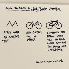 """""""How to draw a Bike Symbol"""" Mini-Tutorial. Learn more stuff like this in my 1 day sketchnotes course. Still seats available for the courses in June in Thun and Bern. Link in Bio.  #sketch #bike #bicycle #symbol #art #drawmore"""