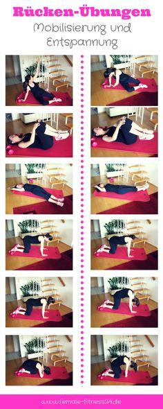 Übungen   Workout für Rücken bzw. für die Wirbelsäule - eine wahre Wohltat zur Entspannung und Mobilisierung. Als einzelnes Workout oder als Bestandteil des Dehnens nach einem Workout (z.B. Bauch, Beine, Po; Aerobic, Tanz-Fitness etc.). Aber auch direkt nach der Arbeit oder vor dem Schlafen gehen können die Übungen gemacht werden.