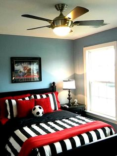 Very nice soccer room! The reds really help to create some excitement.  #RedSoccerRoom, #CustomSoccerDecor, #KidsSoccerRoom