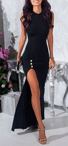 Sexy Black Round Collar Sleeveless High Slit Black Maxi Dress For Women #Sexy #Black #Thigh_High #Slit #Maxi #Dress #Fashion