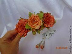 Ободок с розами - коралловый,обруч для волос,обруч с цветами,обруч с цветком