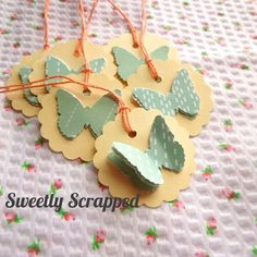 Layered 3 D Butterfly Tags Mint and Coral by SweetlyScrappedArt, $3.49