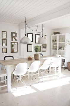 Dining Room , White Dining Room Decorating Ideas : White Dining Room With Swag Industrial Pendant Lights And Molded Plastic Side Chairs With Dowel Leg Base